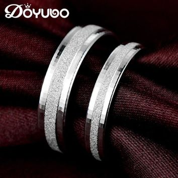 DOYUBO Simple Lovers' 925 Sterling Silver Wedding Rings For Men & Women Classical Solid Silver Couples Rings Accessories VB050