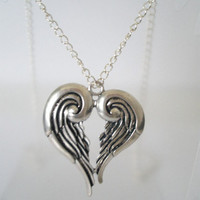 Angel Wing Heart Long Chain Necklace by skullpixie on Etsy