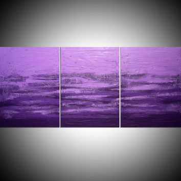 "LARGE WALL ART triptych 3 panel wall contemporary art ""Purple Triptych 2"" canvas original painting abstract canvas pop wall kunst 48 x 20"""