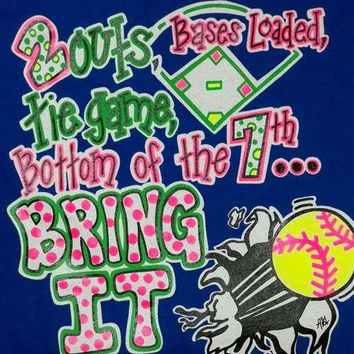SALE Southern Chics Funny Bring It Softball Youth Girlie Bright T Shirt