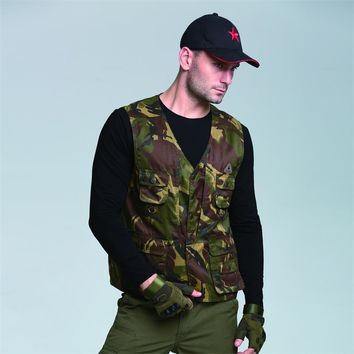 Men Cotton Sleeveless Vest Jackets Casual Army Tactical Military Camouflage Vests Male with Many Pockets Plus Size Waistcoat