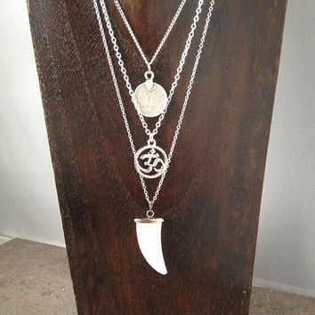 3 Layer Necklaces Om Coin Shark Tooth Boho Yoga Jewelry Silver UK