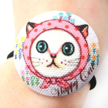 Red Riding Hood Kitty Cat Button Hair Tie Pony Tail Holder