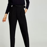 CREPE TROUSERS WITH BELT