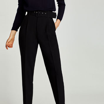 CREPE TROUSERS WITH BELTDETAILS