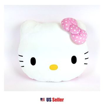 New Sanrio Hello Kitty Face Cushion Round Pillow Bedding Home Deco : Pink Dots Bow $23.99