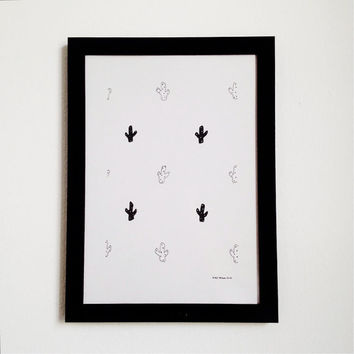 Cactus Illustration, Original Succulent Drawing in Black and White Ink, Minimalist Prickly Pear