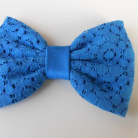 Electric Blue Lace Hair Bow