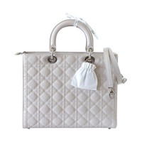 CHRISTIAN DIOR Lady Dior chic pearl grey quilted cannage large NEW box