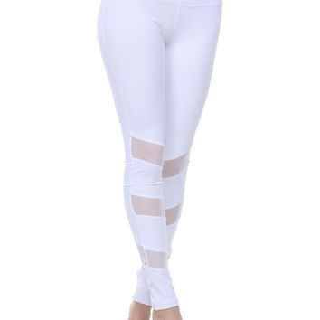 Activewear White Pants, Mesh Panel on Both Sides #1504