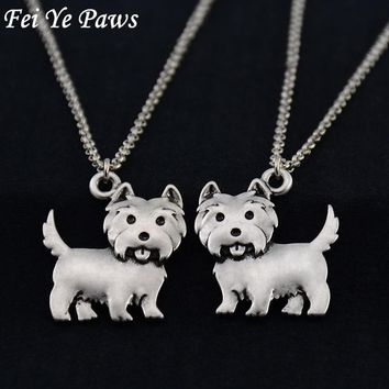 Vintage Silver Westie Pendant Love Necklace Stainless Steel Long Chains Boho Dog Statement Necklaces For Women Men Jewelry 2018