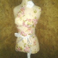 "Boutique dress form 22"" designs Cream Cottage Rose Shabby chic jewelry holder pin cushion craft show booth display wedding centerpiece"