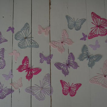 3D paper nursery butterflies of card stock wall art in shades of pink, purple and dusty grey---As weddingdecor or special wedding decoration