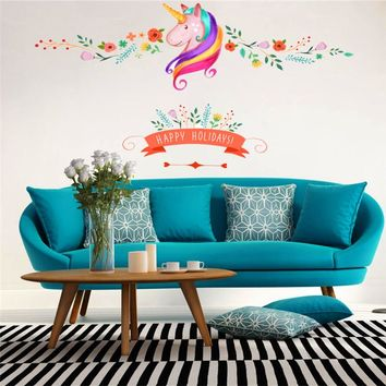 colorful flower floral unicorn wall sticker for kids room girls room window holidays decor animal wall decals art Christmas gift