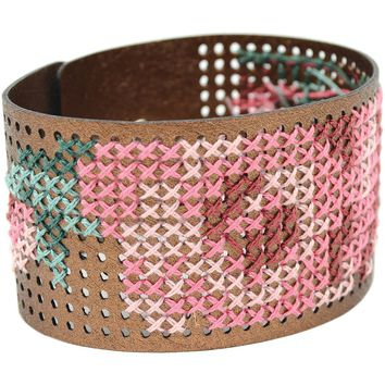 "Faux Leather Bracelet Punched For Cross Stitch-8""X1.5"" Metallic Copper"