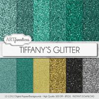 "Tiffanys glitter digital paper ""TIFFANY'S GLITTER"" featuring Tiffany blue colored glitter, fine & chunky glitter, Breakfast at Tiffany's"
