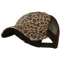 MG Ladies Leopard Print Mesh Canvas Baseball Cap (Brown)