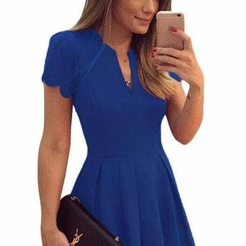 Blue Sweet Scallop Pleated Skater Dress