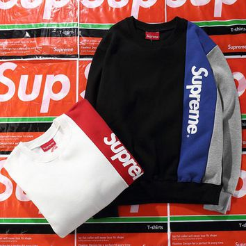 Supreme Fashion Multicolor Print Long Sleeve Cotton Top Sweater Pullover