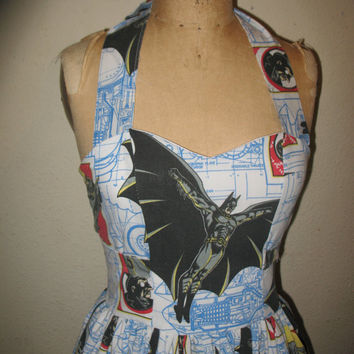 Custom made to order DC Comic Batman Ruffled Sweetheart Mini Dress