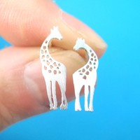Mother and Baby Giraffe Silhouette Shaped Stud Earrings in Silver | Allergy Free