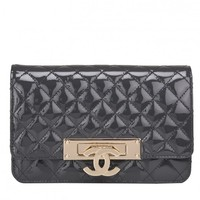 """Chanel Grey """"Golden Class"""" Patent Wallet On Chain (WOC)"""