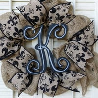 Monogram Burlap Wreath Small Fleur de Lis Wreath Personalized Small Wreath Monogram Wedding Gift Christmas Louisville Wreath New Orleans