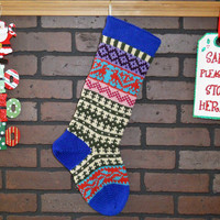 Hand Knit Christmas Stocking in Royal Blue, Fair Isle Knit Stocking with Aqua Ivy, can be personalized, Wedding Gift, Housewarming Gift