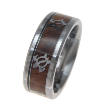 KAUILA Genuine Hawaiian Koa Wood Inlaid Tungsten Ring W/ Honu Turtle Pattern 8mm