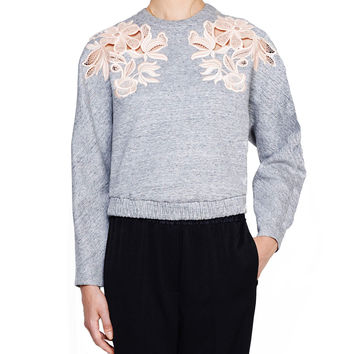3.1 Phillip Lim Guipure Grey Lace Sweatshirt