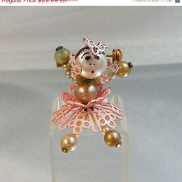 ON SALE Vintage Doll Brooch.  Spanish Dancer. 1940s Faux Pearl Dolly.