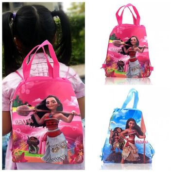 1PCS Moana Children Cartoon Drawstring Backpacks School Shopping Bags 34*27CM Non Woven Fabrics Kids Birthday Party Best Gift