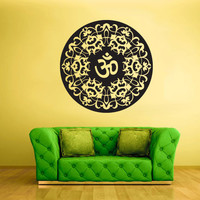 Wall Decal Vinyl  Mural Sticker Art Decor Bedroom Flowers Mandala Menhdi Curly Om Buddha India Hindu (z1973)