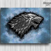 game of thrones poster House Stark print wolf