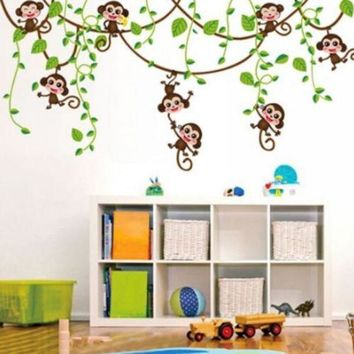 Removable Vinyl Monkey Bedroom Wall Sticker Decals Mural Jungle Nursery Monkey Kid Room Decoartion Home Decor
