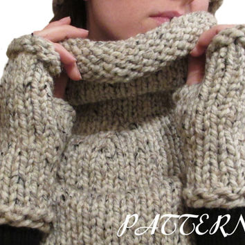 Fingerless Gloves Knitting Pattern - Thick and Chunky - Download PDF