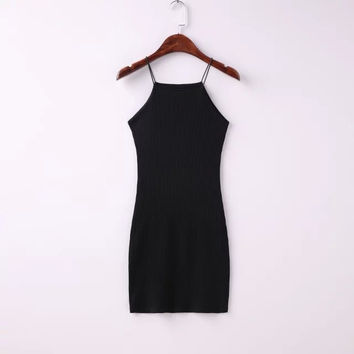 Sexy Spaghetti Strap Ribbed Texture Bodycon Short Dress
