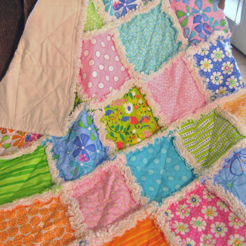 Crib Size Baby Rag Quilt Blanket Lime Pink Aqua Dilly Dally