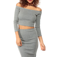 Knit Off Shoulder Crop Top