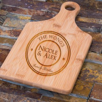 Custom Engraved Bamboo Cutting Board, Personalized Circle Family Crest