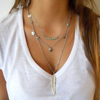 Chain Bar Necklace  and Long Strip Pendant Necklaces Jewelry Women Multilayer Irregular