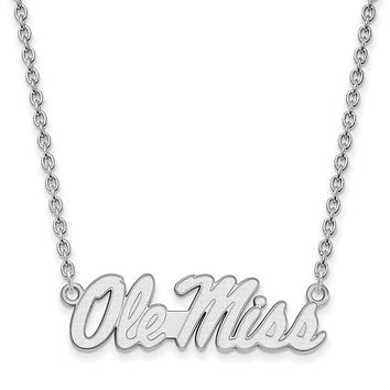 NCAA Sterling Silver U of Mississippi Large Ole Miss Pendant Necklace