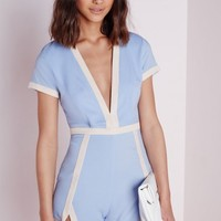 Missguided - Tylka Blue Plunge Neck Contrast Trim Romper
