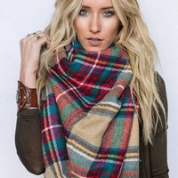 Countryside Plaid Blanket Scarf - Khaki
