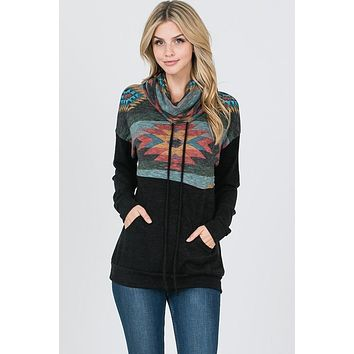 Aztec Cowl Neck Top - Black