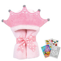 """Tubby Princess 46040 Soft Hooded Bath Towel 24x50"""" Age 0-8 with Coloring Book"""