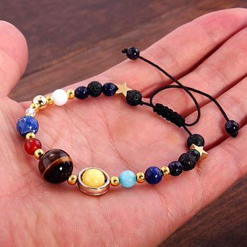 Celestial Galaxy Fashion Bracelet Eight Planet Solar System Natural Stone Beaded Jewelry - Amazing Gift for All Ages