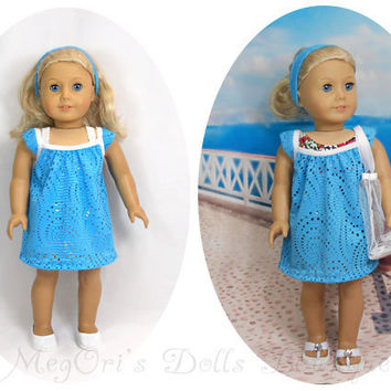 "18"" American Girl Dolls Clothes Blue Turquoise Lace Dress, Swimsuit Cover Up Beach Dress Optional Beach Bag"