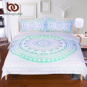 BeddingOutlet Blue and Green Mandala Flower Duvet Cover Set With Pillowcase Bohemia Bedding Set Soft Fresh Quilt Cover Set 3Pcs