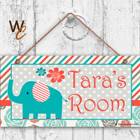 "Nursery Sign, Elephant Girls Room Sign, Personalized Sign, Kid's Name, Kids Door Sign, Baby Nursery Art, 5"" x 10"" Sign, Made To Order"